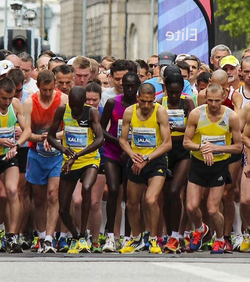 Athletes running in the Glasgow Marathon