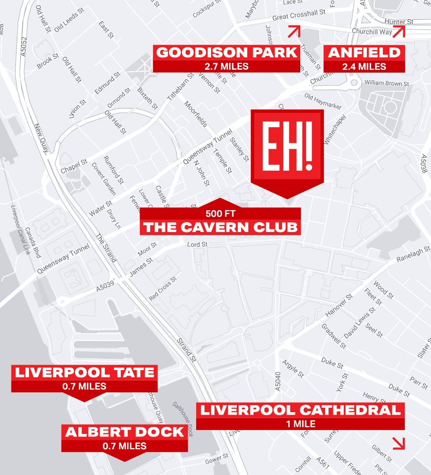 Map of Liverpool, including location of Euro Hostel Liverpool