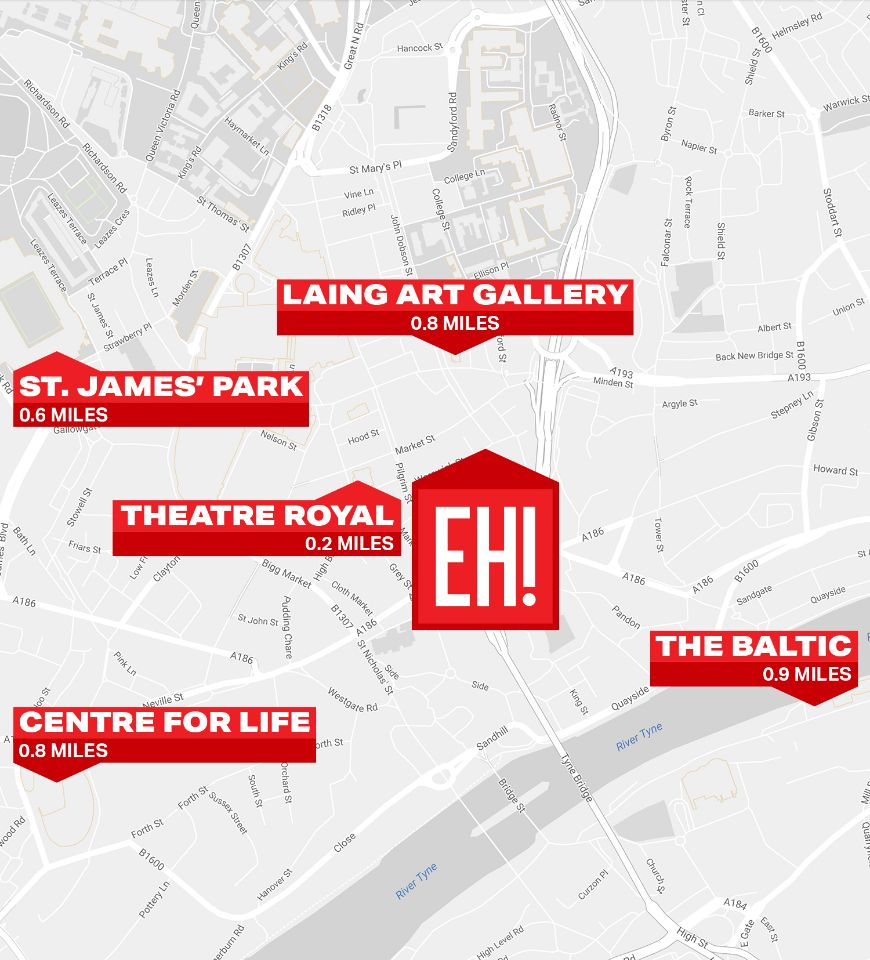 Map of Newcastle, including location of Euro Hostel Newcastle