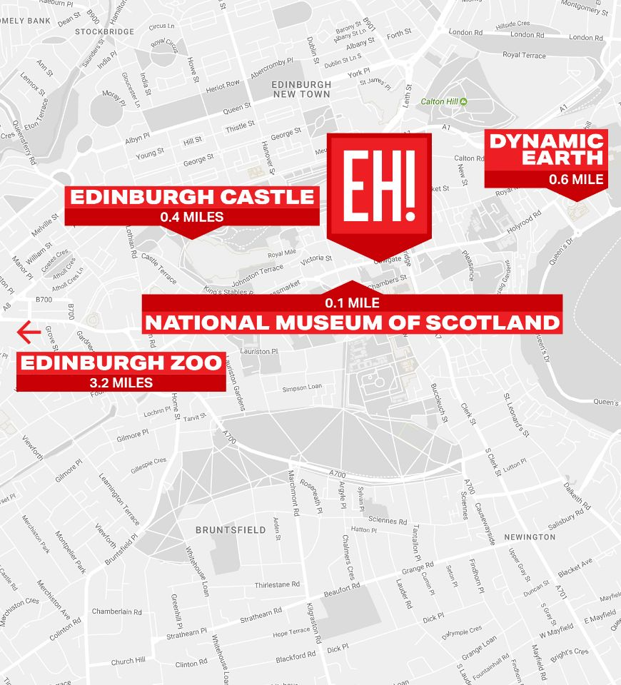 Map of Edinburgh, including location of Euro Hostel Edinburgh Halls